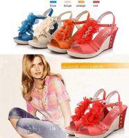 Women Wedge  New Arrival Hot Platform High Heels Wedge Pump Sandals Women Shoes Blue Orange Beige Red Size 35-39