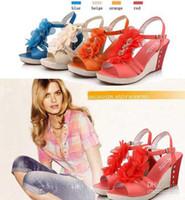 Women Wedge  Fashion New Korean Platform High Heels Wedge Pump Sandals Women Shoes Blue Orange Beige Red Size 35-39