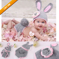 Unisex Summer Crochet Hats Baby Girl Boy Crochet Knit Costume Clothes Photo Photography Prop Rabbit Hats.drop shipping .china hat.High quality.sale.1set lot
