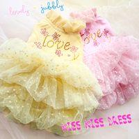 Wholesale dog clothes thick khaki polka dot soft yarn stereoscopic layered dog dress skirt pet cute puppy dog Tee