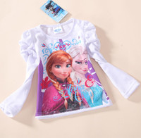Girl cotton tunic - Free fast shipping new autumn girls clothing brand frozen children long sleeve T shirt kids lovely white tops cotton tunic leisure tees