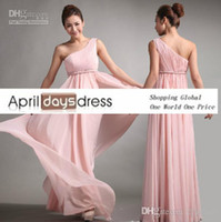 Reference Images Sash Sleeveless Wholesale - Custom MadeBridesmaid Dresses Sweet princess Greek Style Goddess One-shoulder Bare Pink Party Dress