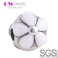 Wholesale Darling Daisies White Enamel Sakura Flower Sterling Silver Clips fit DIY charm bracelets European Bracelets No KT074B N