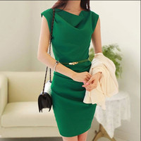ladies office clothes - OL Elegant Bandage Dress Fashion Women s Office Dress Ladies Sleeveless Clothes Dress With Belt Summer New