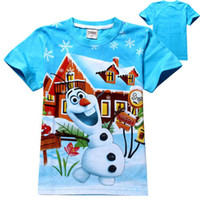 Wholesale new kids cartoon Frozen olaf t shirt boys short sleeve t shirts baby cute cotton fashion frozen tees tops in stock