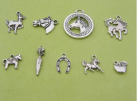 Charms horse jewelry - 180Pcs Mixed Tibetan Silver Tone Horse Charm Pendant Jewelry Craft DIY Handmade Floating Charm