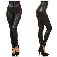 Wholesale 2014 New Leggings Punk Style Faux Imitation leather Slim Leggings High Waist Stretch PU Material Zipper Ladies Fashion Pants Tights Skinny