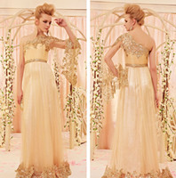 Reference Images One-Shoulder Tulle 2014 Zuhair Murad Evening Dresses Arabic Long One Sleeve Gold Sequins Lace Applique Tulle A Line Formal Prom Gowns BO5660
