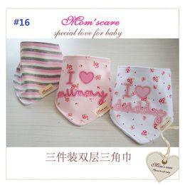 Wholesale Cotton Baby Bibs Toddler Reversible Bandit Bandana Dribble Baby Triangular Bibs Infant Feeding Bib Newborn Baby Y sets