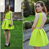 Round ball state clothes - Europe and the United States high grade dress clothes fluorescent green backless dresses