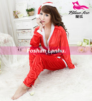 Wholesale lovely chrismas style sexy lingeries red belt decorate V neck ladies lingeries long sleeve hat and T pnts included Y10016