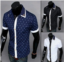 Wholesale NEW Men s casual Slim shirt Men s short Sleeve summer unique printing Shirts shirt Dress Shirts For Mens Business Shirts