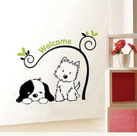 Graphic vinyl PVC Animal Wholesale - Free Delivery Large Size Retail a Baby and a Puppy dog Wall Stickers Household to Decorate the House Decoration Decals 8145