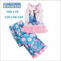 Girl Spring / Autumn Sleeveless Wholesale - New 2014 Frozen Elsa&Anna Pajama Set 4-13 Age Princess Top and Pants Sleepwear Sets Kids Clothing Children Clothing Set Nightie