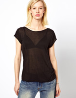 Women Cotton Polo Free Shipping! Fashion women deep V backless cross back naked short sleeve round collar black thin transparent T-shirt in stock