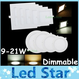 Square / Round 9W / 12W / 15W / 18W / 21W Dimmable LED Slim Panel lumières plafonniers encastrés 4