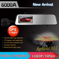 1 channel 1.5 1920x1080 6000A Rearview Mirror Car DVR HD 1920x1080p Rear view camera 720P H.264 Dual Cameras wtih G-sensor GPS PIP function Freeshipping