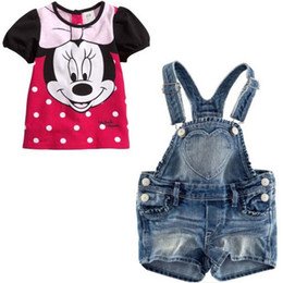 Wholesale sets New Arrival Girl s Summer Clothing Set Minnie Mouse Denim Sling Casual Suit Kids Cartoon Piece Set