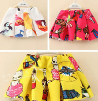 Wholesale 2014 Summer Korean Style Children Cute Printed Lady Cat Bird Figure Skirt Girls Fashional Ruffle Skirt Kids Printing Skirts I0723