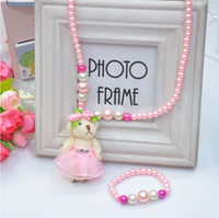 beat bracelet - Children fashion Accessroies Girl Jewelry Set Acrylic Plastic Pearl Beats Rubber bandPink Cute Bear Necklace Bracelet piece set