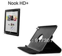 "Protective Shell/Skin 7'' For Apple Rotary Rotating 360 Degree Folio Stand Leather Skin Case Cover + Screen Protector Film Guard For Barnes Noble Nook HD+ 9"" inch"