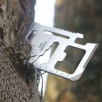 Wholesale Outdoor camping Emergency Survival Knife Mini Multi in1 Credit Card Tool with leather cover