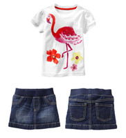 Cheap Wholesale 6 sets lot 2014 Novelty Girls Denim Suit Children Summer Short Sleeve T shirt+Denim Skirt Twinset High Quality In Stock Items