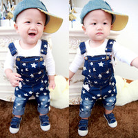 Wholesale denim Tide children s clothes baby boys jeans long pants spring new wave pentagram strap jeans