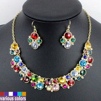Earrings & Necklace Crystal Alloy Free shipping high quality colorful crystal pendant necklace earrings jewelry set cute style costume accessories newest gorgeous wholesale