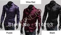 Men Cotton Shirts 2014 New Arrival Korea Style Men's cheap Leisure Silk Shiny Slim fit Stylish Long Sleeve Shirt Free shipping 9456