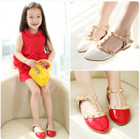 Cheap Free Shipping 2014 NEW Beauty girls shoes Spring and Summer Fashion 4 Colors kids Flat Leather shoes White Children Rivets Wedge Sandals Red
