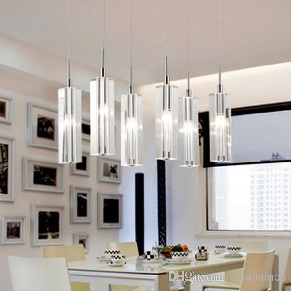 6 led lights dining room crystal pendant lamp european staircase stairway pendant lights big crystal chandelier living room kitchen lighting pendant - Dining Room Crystal Lighting