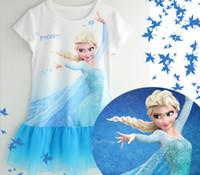 TuTu Summer A-Line Summer New Arrival Frozen Girl Princess Dress Short Sleeve Net Yarn Baby Frozen Cartoon Dresses 90-140 2-7Year Kids Clothing GX261