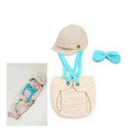 Unisex Winter Newborn Hat Free Shipping Newborn Baby Boy Girl Newsboy Set Hat & Diaper Cover Crochet Infant Suspenders Bow Tie Newborn Photography Props