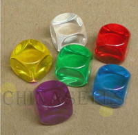 Wholesale 14MM teaching transparent blank dice paintless plain engravable DIY ktv dice chess game accessories filleting dices