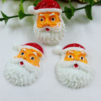 Resin Yes Artificial 50pcs lot Father Christmas Resin Cabochon Flat Back Girls Hair Bow Center Making Boys Crafts Embellishments DIY 22*30mm