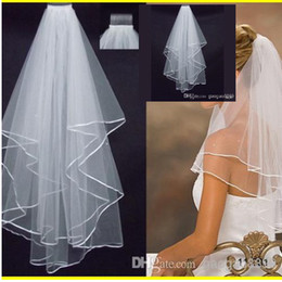 Wholesale Cheap Real Image Stock Layer White Ivory Wedding quot Satin Edge Comb Veils For Wedding Dresses Gowns Bridal Accessories SSJ