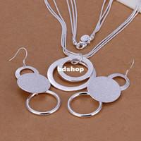 Wholesale S017 silver jewelry set fashion jewelry set Double O Two Piece Jewelry Set