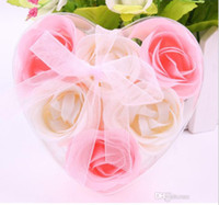 Wholesale High Quality Mix Colors Heart Shaped Rose Soap Flower For Romantic Bath Soap And Gift one box L453