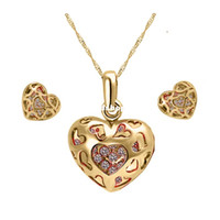 Wholesale 18K Gold White Gold Plated Heart Austrian Crystal Rhinestone Fashion Jewelry Sets