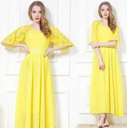 Wholesale Woman s fashion dress casual dresses Original yellow Bud silk chiffon Bohemia beach dress wtc436