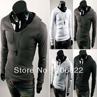 Men Cotton Polo Mens Stylish Casual Dress Slim Fit Hoodies Long Sleeve Tee Shirts Hooded T