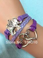 Wholesale Silver Alloy Double Heart Elephant Charms Bracelet Vintage Fashion Womens Costume Handmade Jewelry U