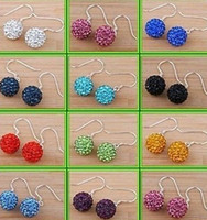 Wholesale 30 Pairs mm best hotsale Rhinestone Mix white New disco Ball beads clay Shamballal Crystal Earrings drop earring