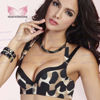 Wholesale Hot Sale New Push Up High Quality Water Bag Bra Lace Underwear Brassiere Leopard Halter Bra Adjustable Bra Sexy Women s Bra