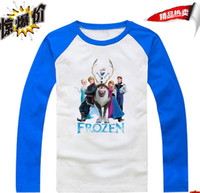 Wholesale In Stock Frozen Long Sleeve T Shirt Girls Boys Cotton Cartoon Clothing Jumper T Shirt Many Colors