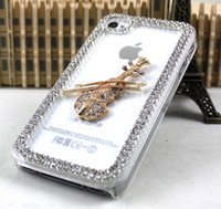 Wholesale Transparent diamond music guitar design phone case cover skin shell for iPhone S luxury guitar case