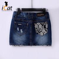 Moldeado del ajuste del cordón de las mujeres del dril de algodón Jean mini falda más el tamaño # 3720