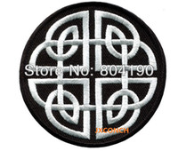 Wholesale small Black White Celtic knot Irish goth biker vest tattoo wicca magic sew sewing applique iron on patch Kids Girls Dress Patch Badge