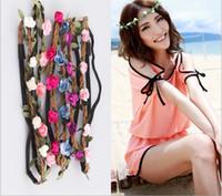 Wholesale Fashion Handmade Rose Floral Leaves Hair Band Flower Headband Crown Hippy Boho Wedding Tiaras Leather Headbands hair jewelry